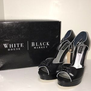 Black & White Bow Open Toe Chunky Sandal Heels NEW